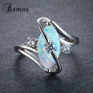 White fire opal s style rings